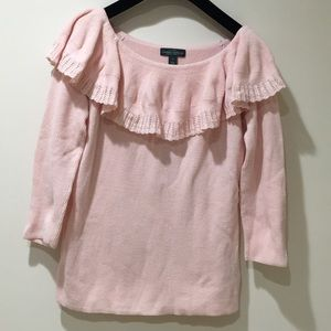 LRL Ralph Lauren knit peach top w ruffle
